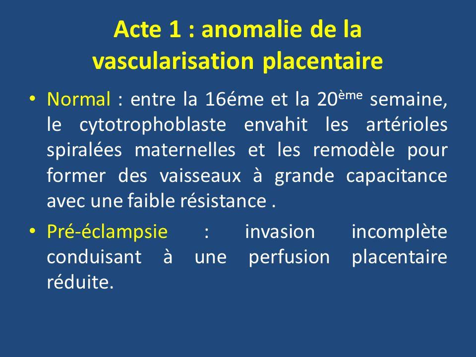 Acte 1 : anomalie de la vascularisation placentaire