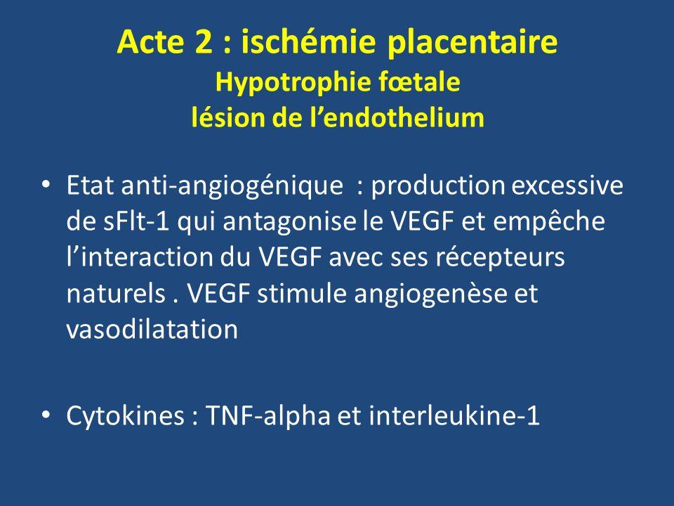Acte 2 : ischémie placentaire Hypotrophie fœtale lésion de l'endothelium