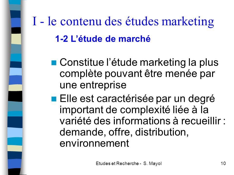 I - le contenu des études marketing