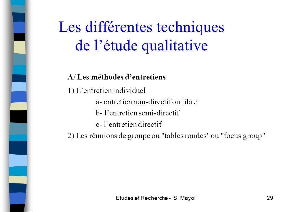 Les différentes techniques de l'étude qualitative