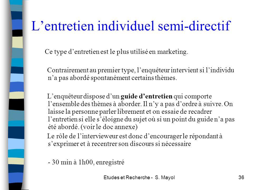 L'entretien individuel semi-directif
