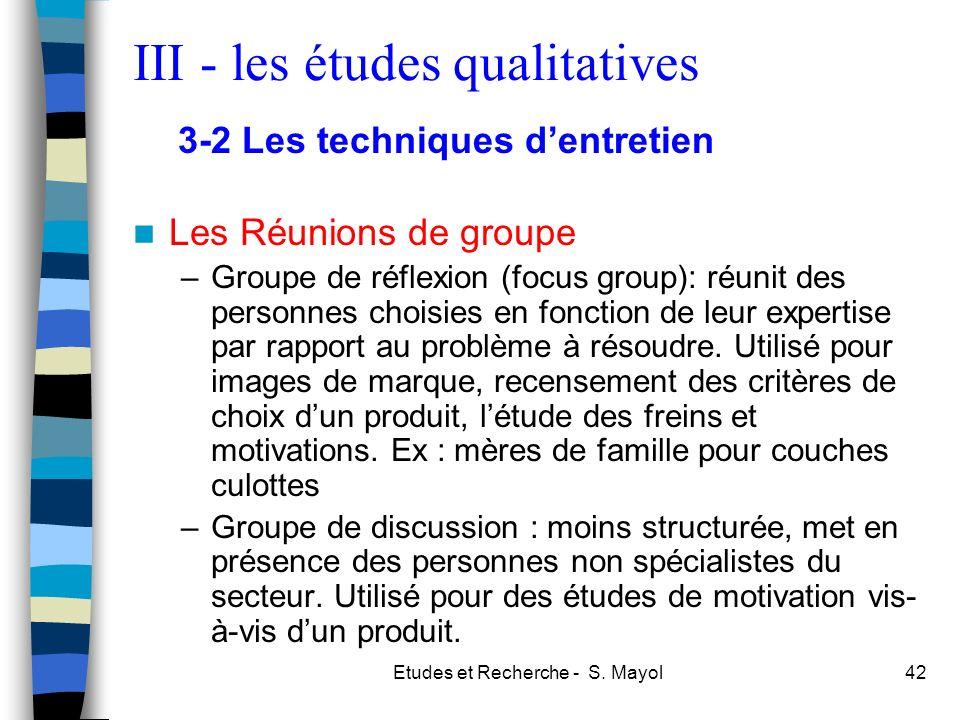 III - les études qualitatives