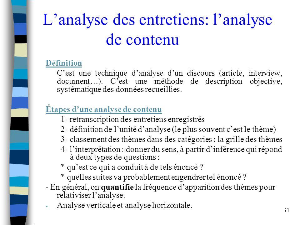 L'analyse des entretiens: l'analyse de contenu