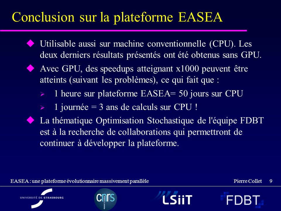 Conclusion sur la plateforme EASEA