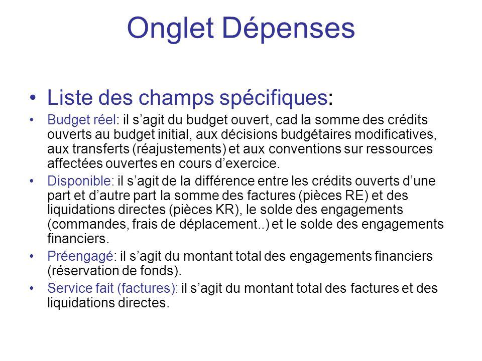 Onglet Dépenses Liste des champs spécifiques: