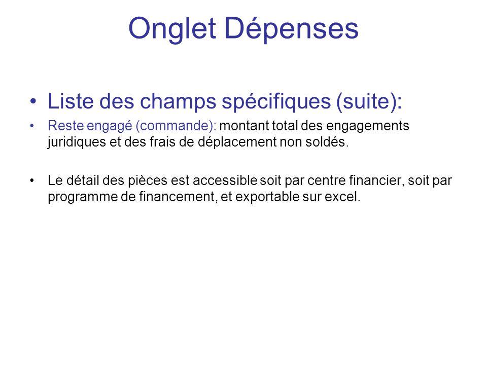 Onglet Dépenses Liste des champs spécifiques (suite):