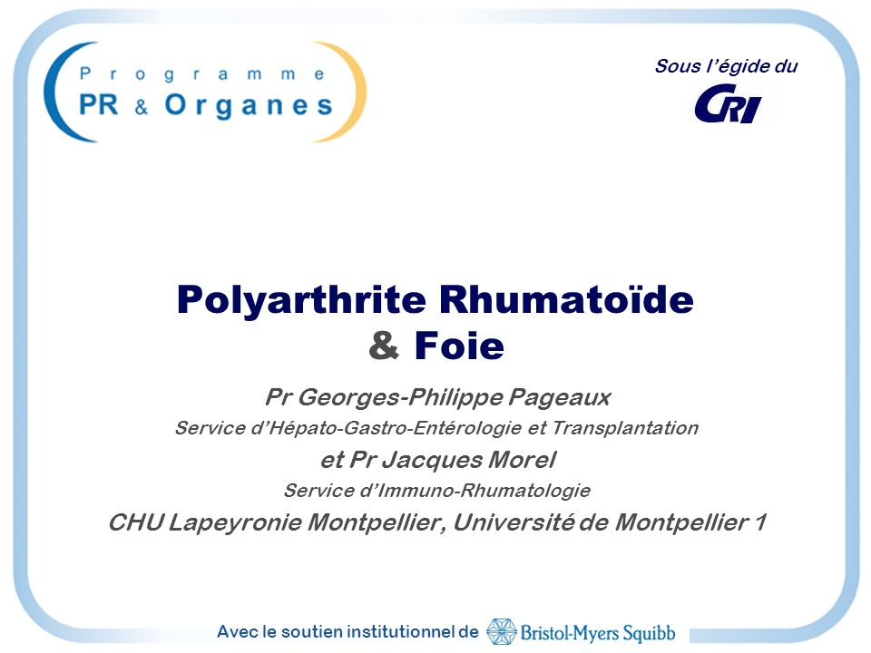 Polyarthrite Rhumatoïde & Foie