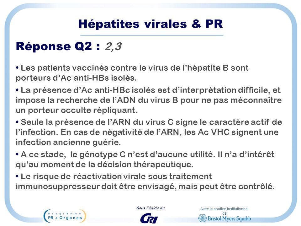 Hépatites virales & PR Réponse Q2 : 2,3