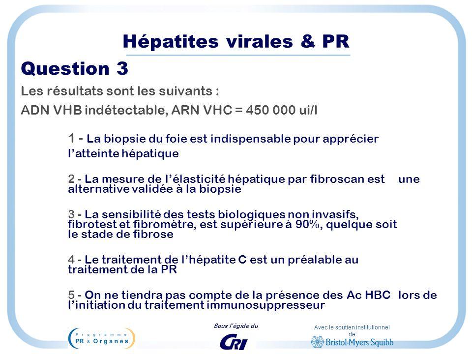Hépatites virales & PR Question 3 Les résultats sont les suivants :