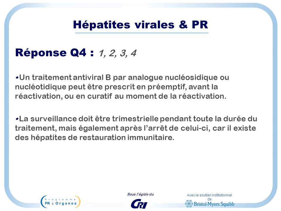 Hépatites virales & PR Réponse Q4 : 1, 2, 3, 4