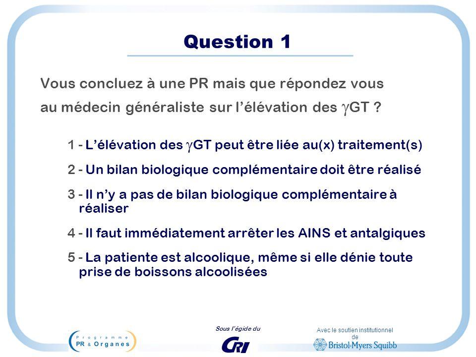 Question 1 Vous concluez à une PR mais que répondez vous