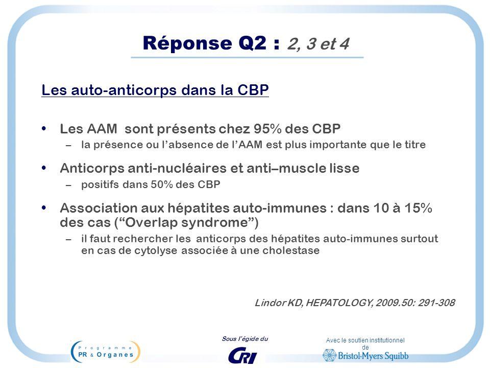 Réponse Q2 : 2, 3 et 4 Les auto-anticorps dans la CBP