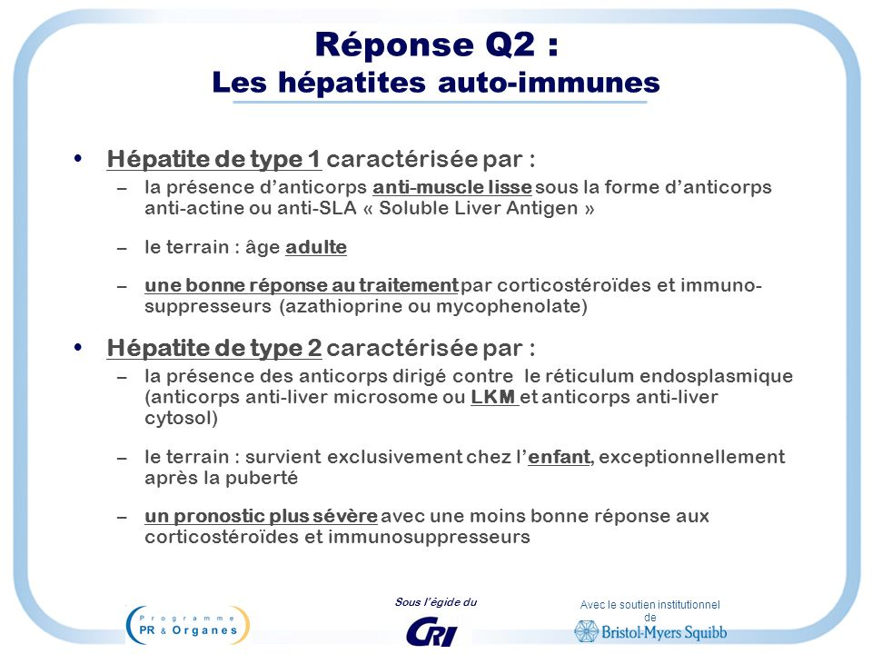 Réponse Q2 : Les hépatites auto-immunes