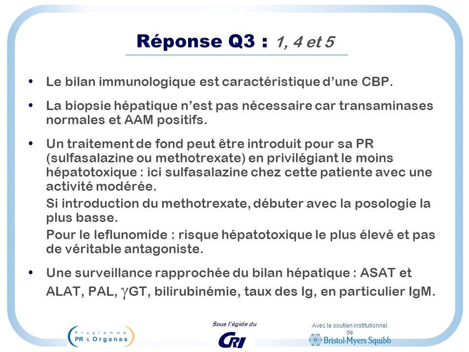 Réponse Q3 : 1, 4 et 5 Le bilan immunologique est caractéristique d'une CBP.