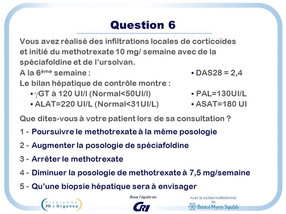 Question 6 Vous avez réalisé des infiltrations locales de corticoïdes
