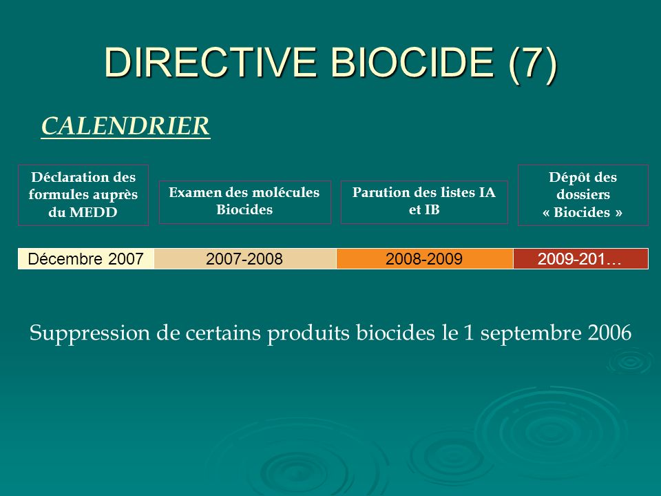 DIRECTIVE BIOCIDE (7) CALENDRIER