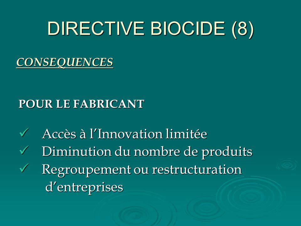 DIRECTIVE BIOCIDE (8) Accès à l'Innovation limitée
