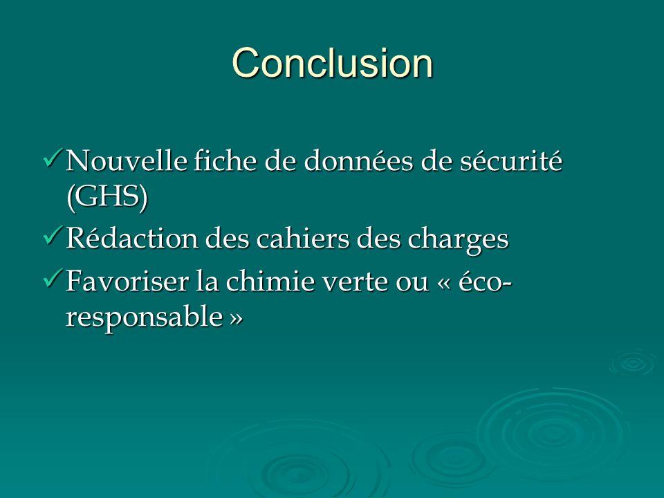 Conclusion Nouvelle fiche de données de sécurité (GHS)