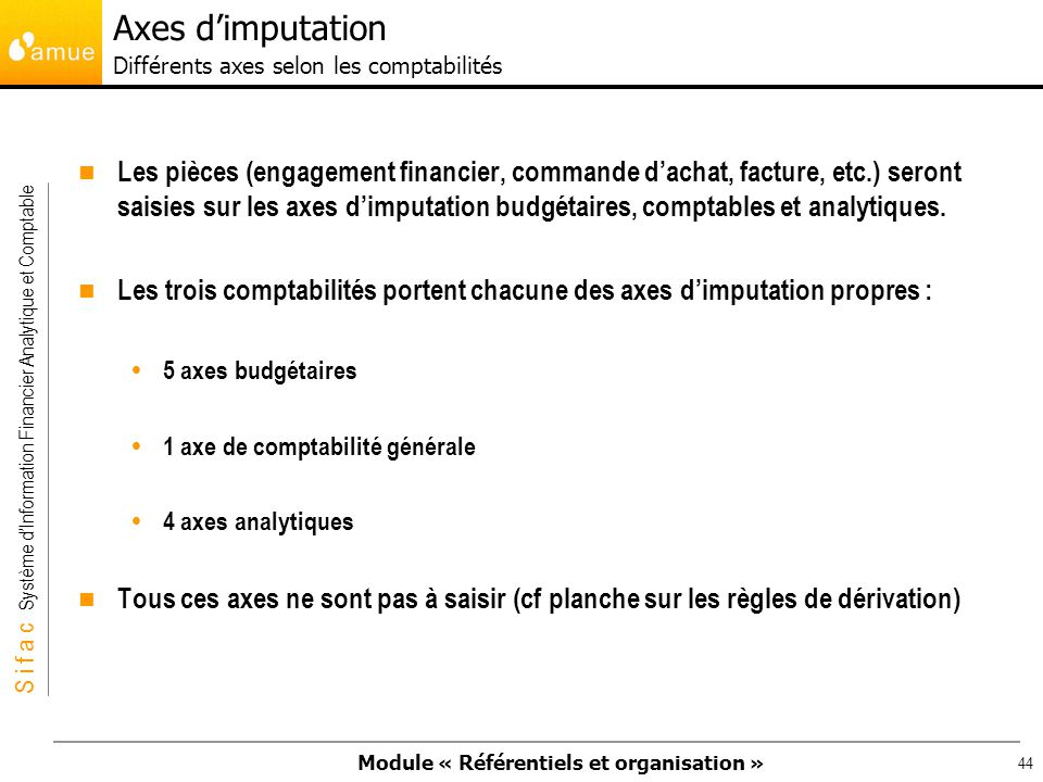 Axes d'imputation Différents axes selon les comptabilités