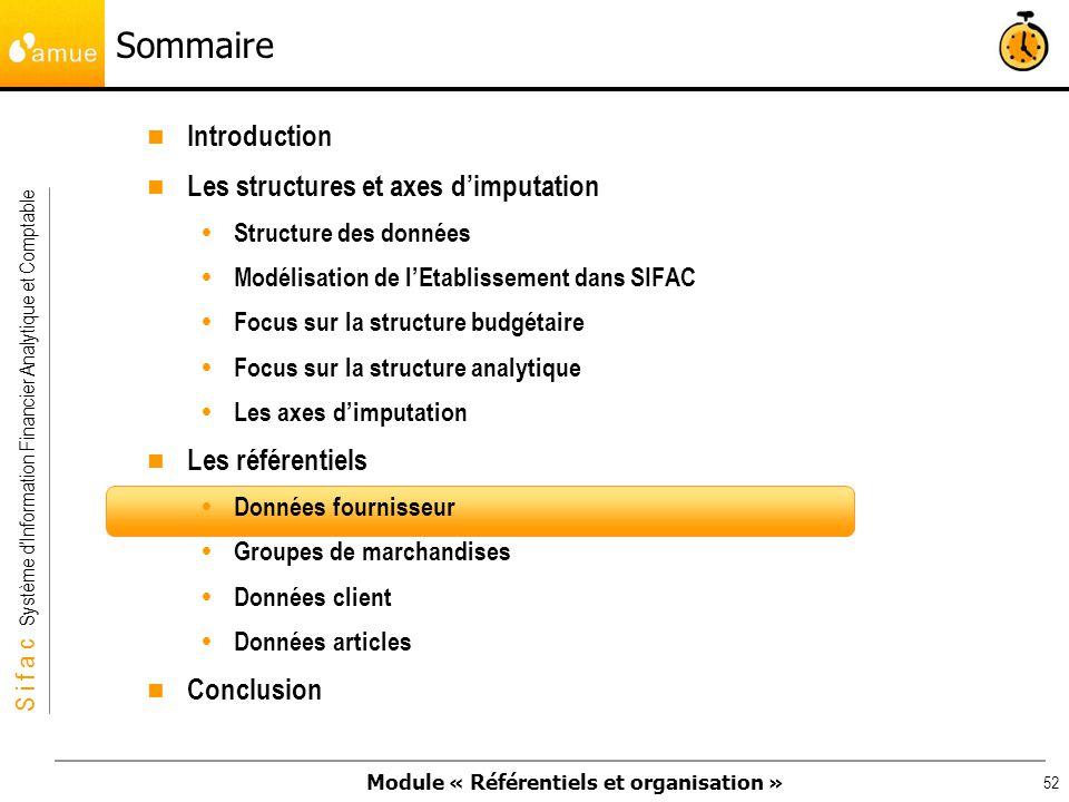 Sommaire Introduction Les structures et axes d'imputation
