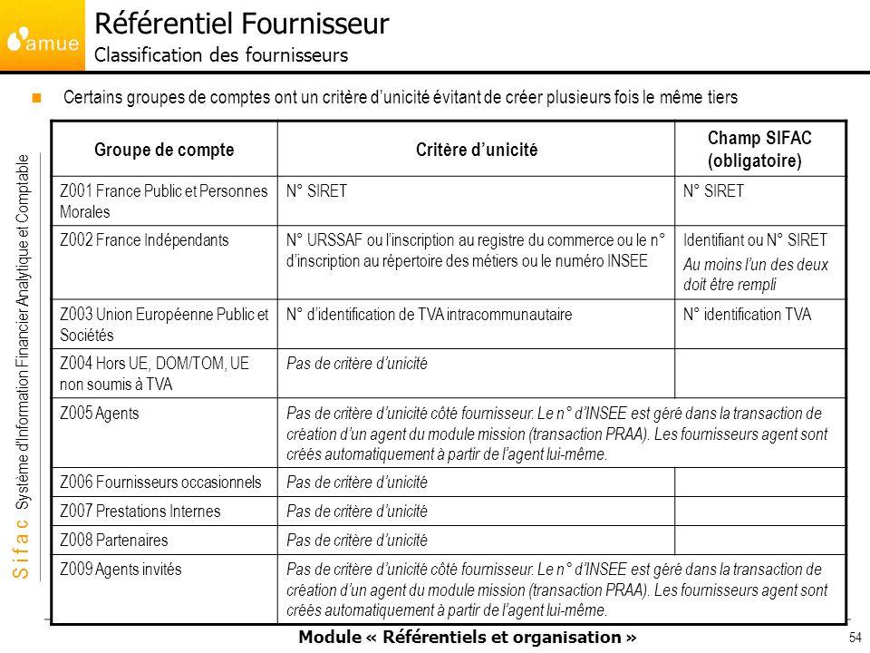Référentiel Fournisseur Classification des fournisseurs