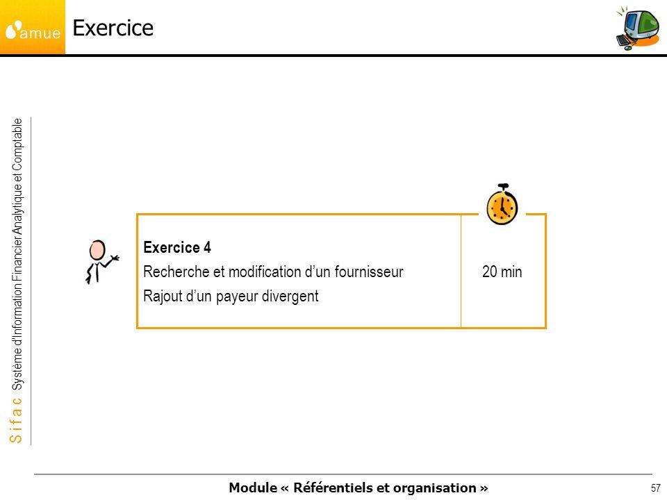 Exercice Exercice 4 Recherche et modification d'un fournisseur 20 min