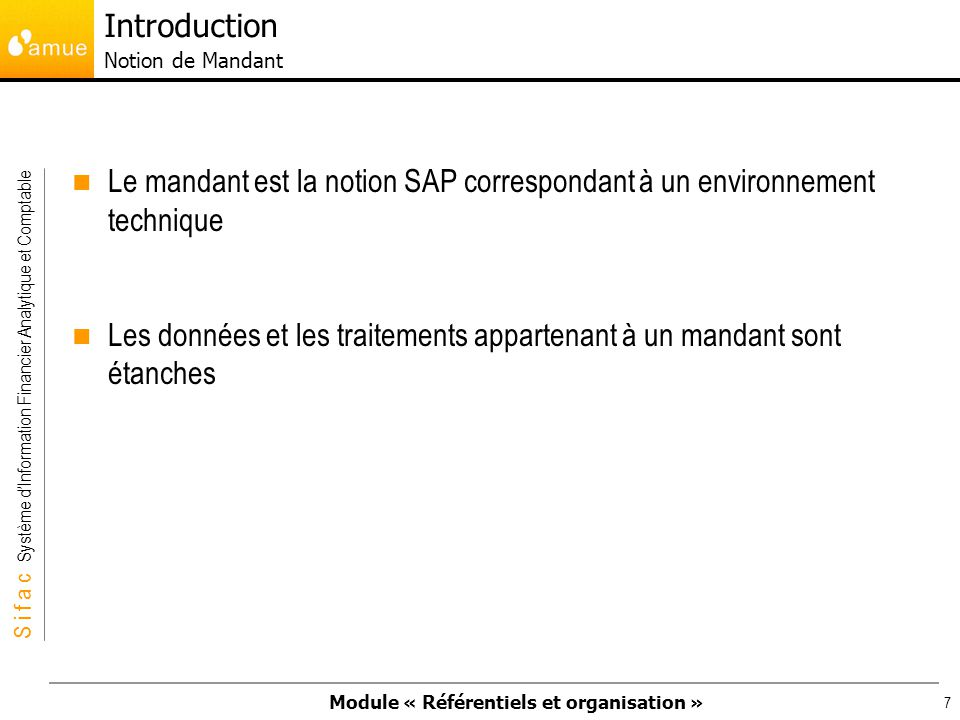 Introduction Notion de Mandant