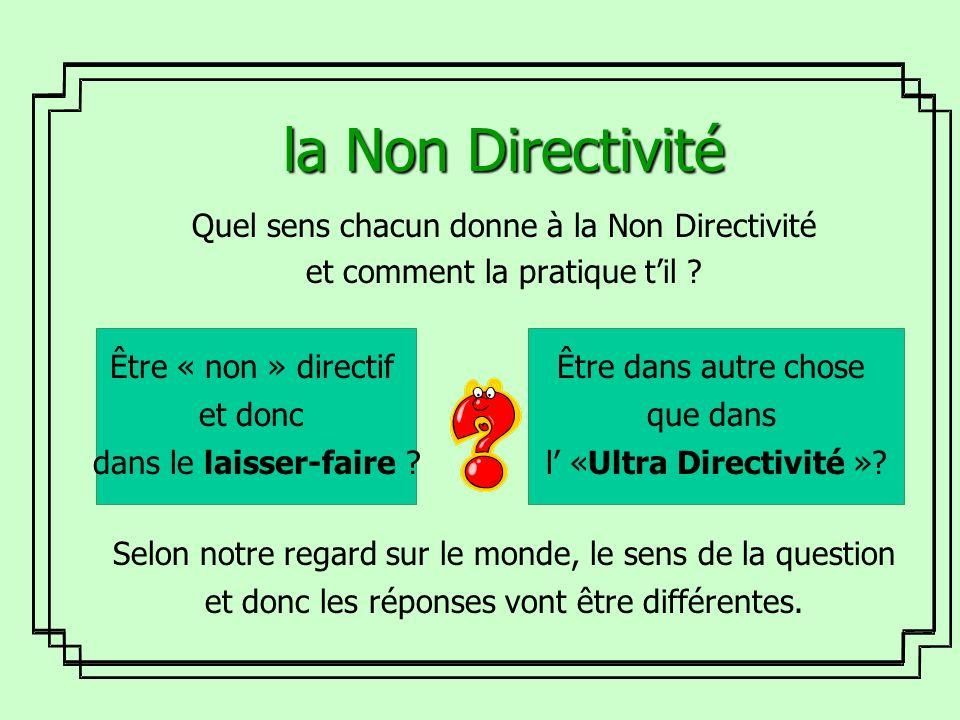 la Non Directivité Quel sens chacun donne à la Non Directivité