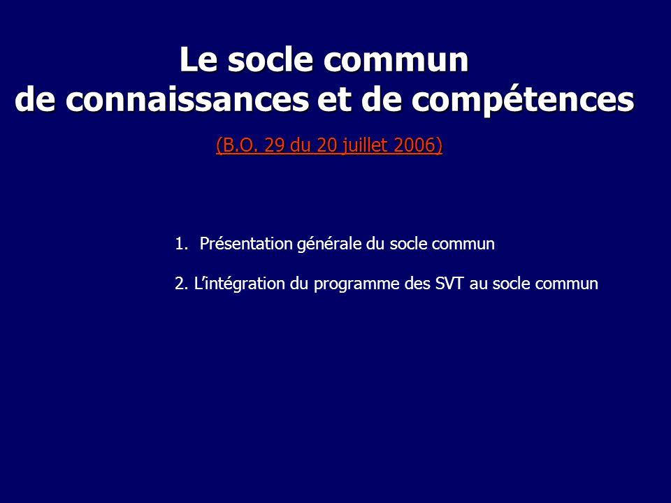 Le socle commun de connaissances et de compétences (B. O
