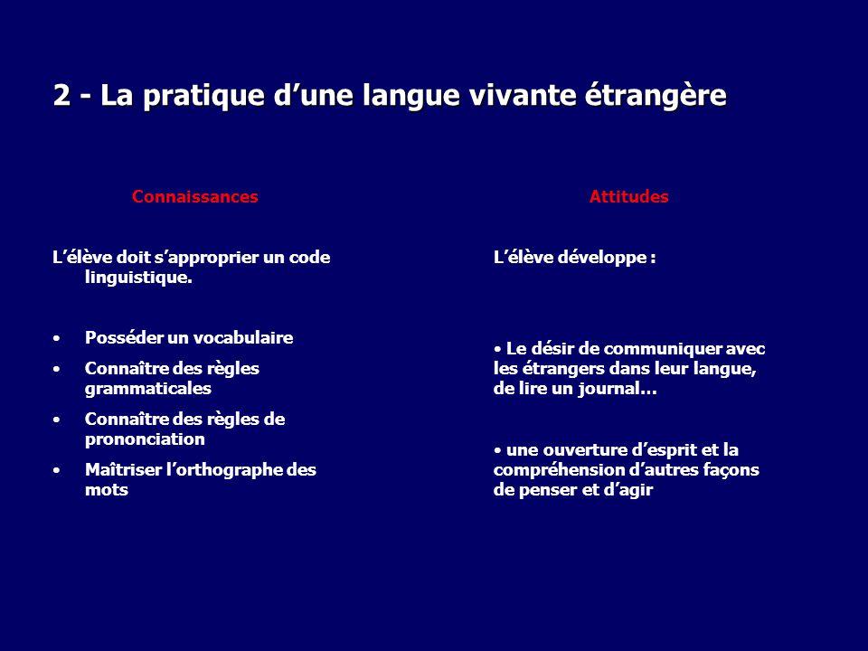 2 - La pratique d'une langue vivante étrangère