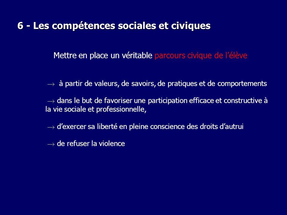 6 - Les compétences sociales et civiques