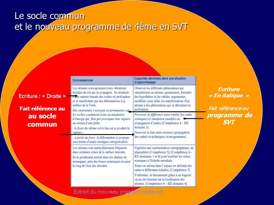 Le socle commun et le nouveau programme de 4ème en SVT