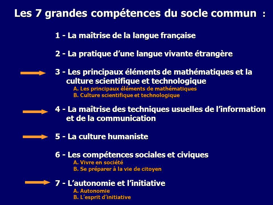 Les 7 grandes compétences du socle commun :