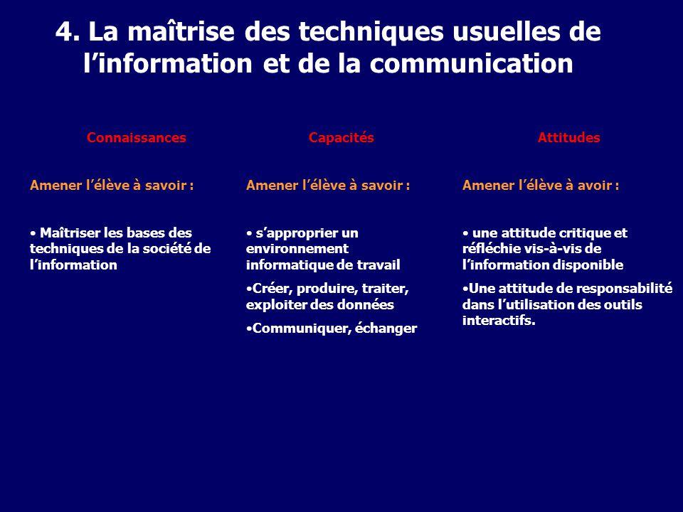 4. La maîtrise des techniques usuelles de l'information et de la communication