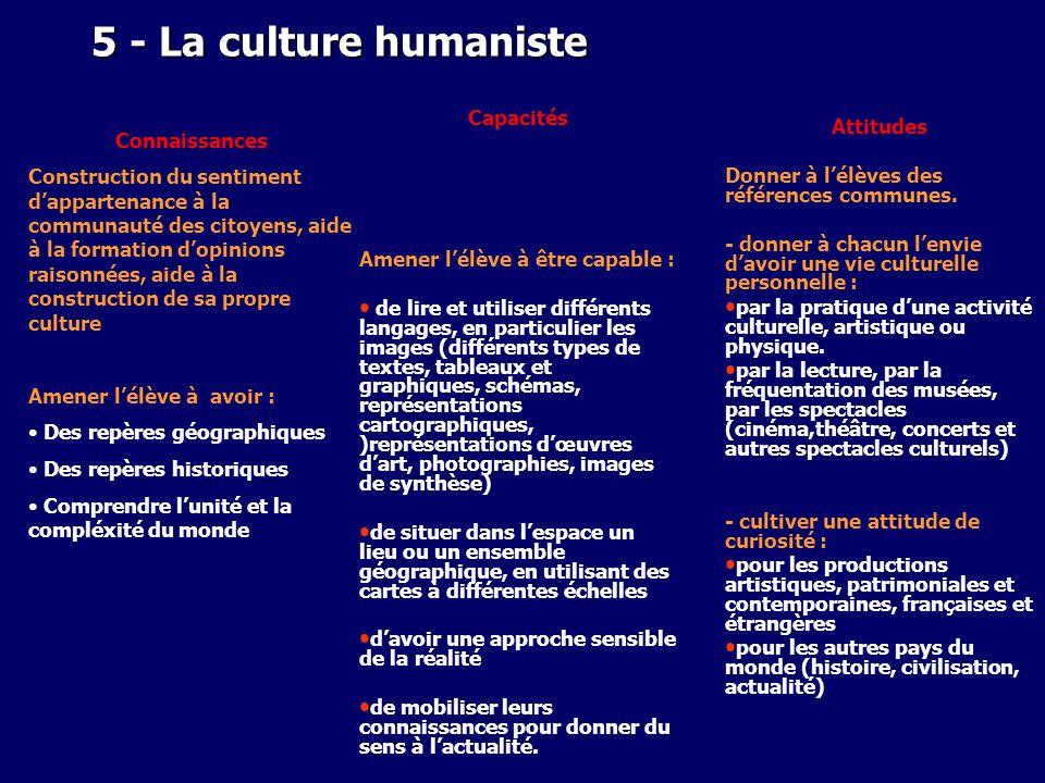 5 - La culture humaniste Capacités Attitudes Connaissances