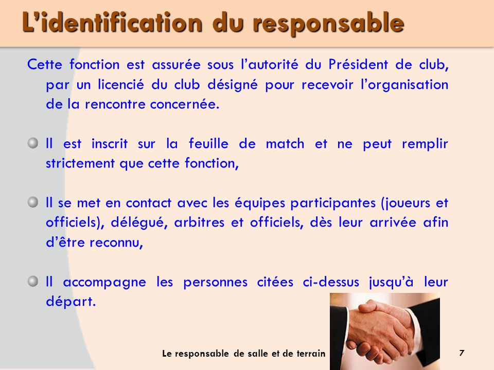 L'identification du responsable