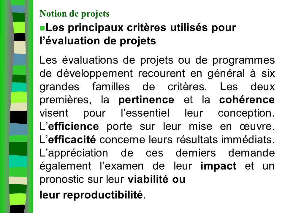 Les principaux critères utilisés pour l'évaluation de projets
