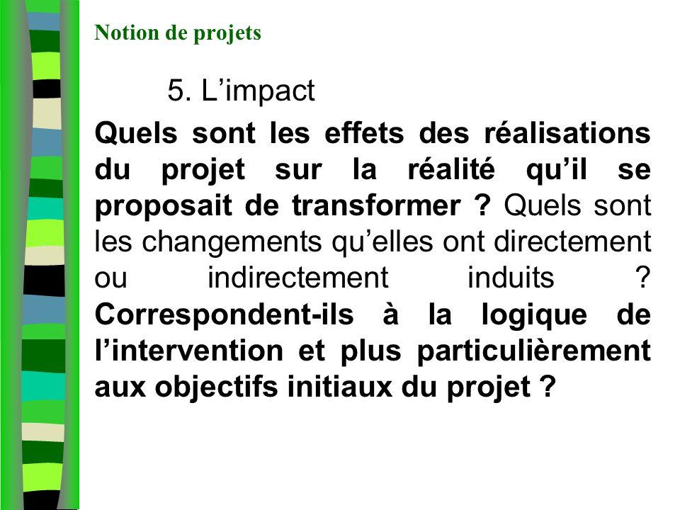 Notion de projets 5. L'impact.