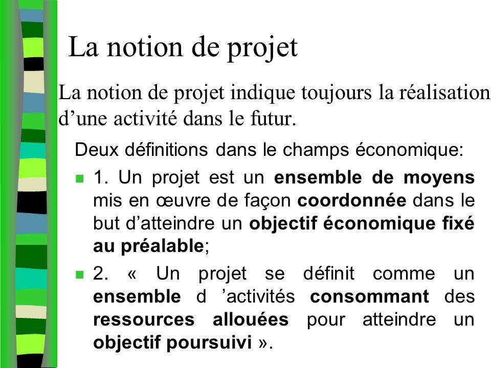 La notion de projet La notion de projet indique toujours la réalisation d'une activité dans le futur.