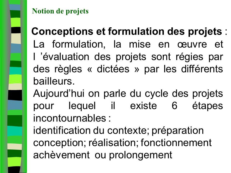 Conceptions et formulation des projets :