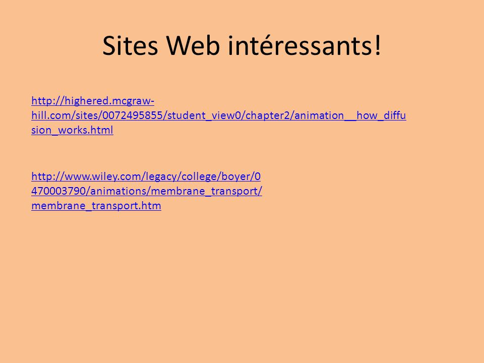 Sites Web intéressants!