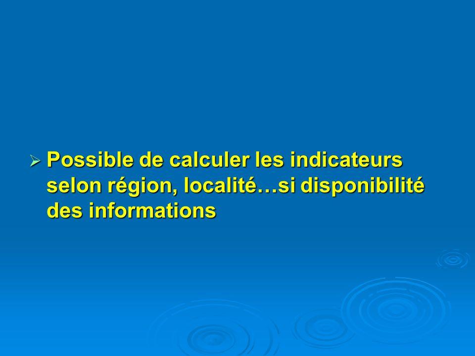 Possible de calculer les indicateurs selon région, localité…si disponibilité des informations