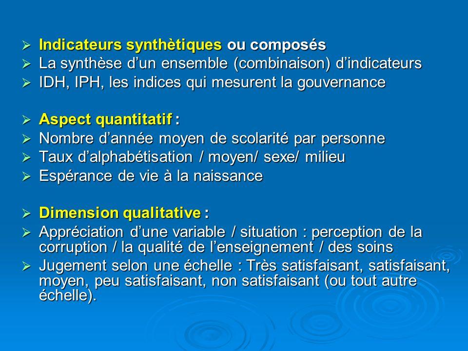 Indicateurs synthètiques ou composés