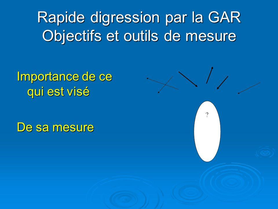 Rapide digression par la GAR Objectifs et outils de mesure