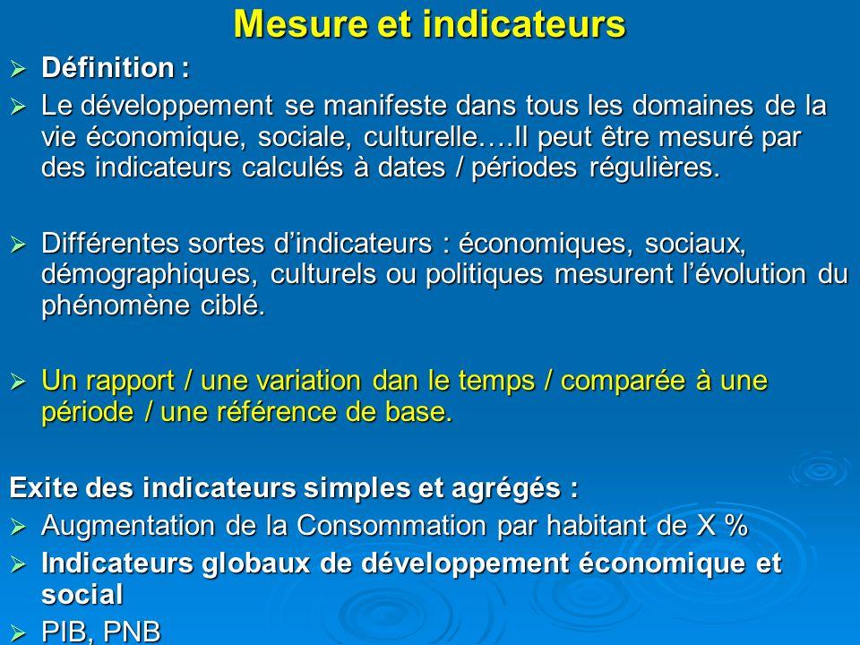 Mesure et indicateurs Définition :