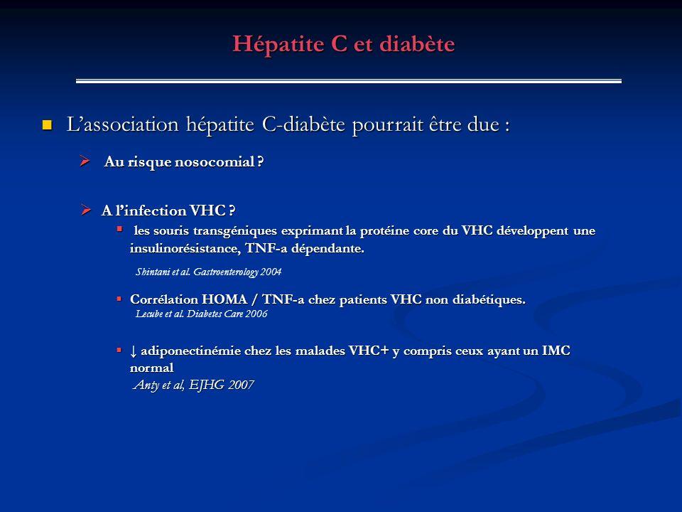 Hépatite C et diabète L'association hépatite C-diabète pourrait être due : Au risque nosocomial A l'infection VHC