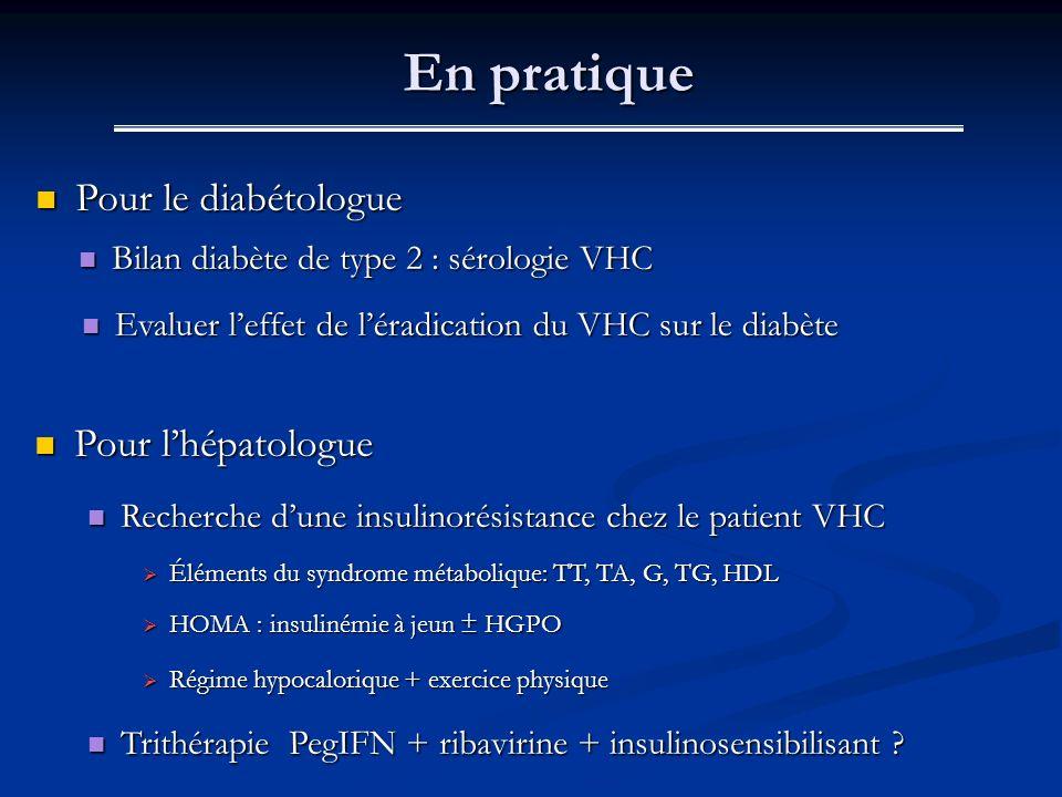 En pratique Pour le diabétologue Pour l'hépatologue