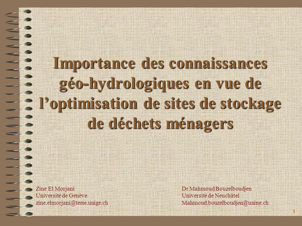 Importance des connaissances géo-hydrologiques en vue de l'optimisation de sites de stockage de déchets ménagers
