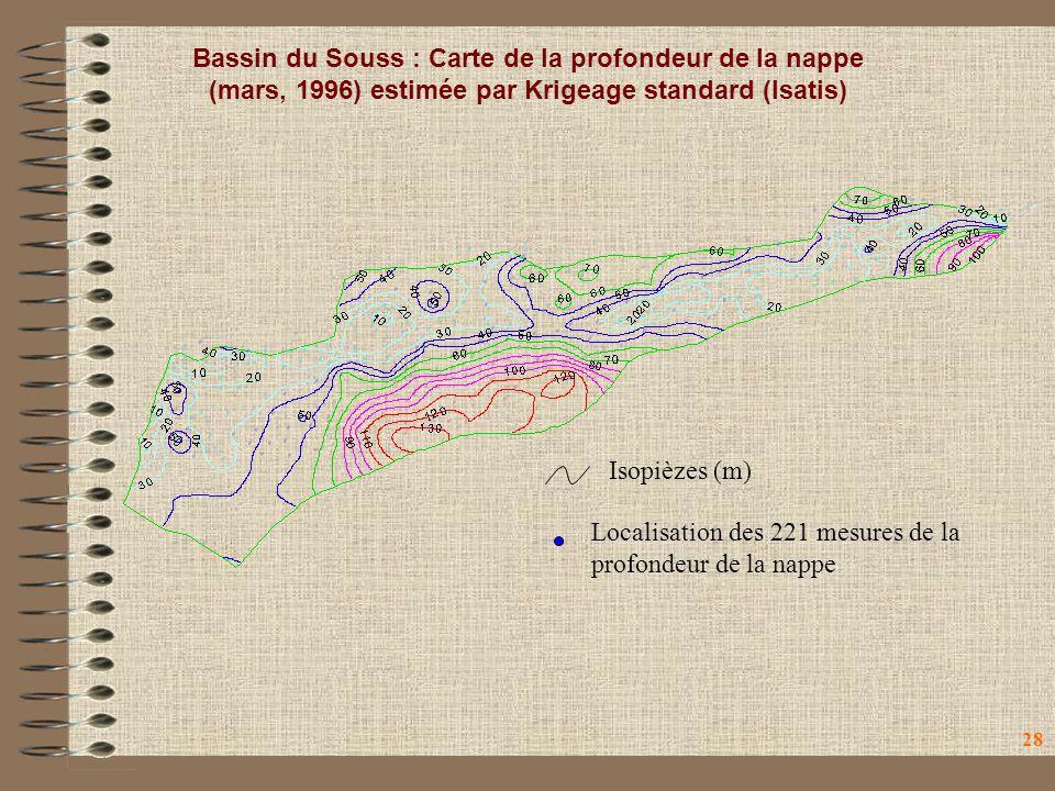Bassin du Souss : Carte de la profondeur de la nappe (mars, 1996) estimée par Krigeage standard (Isatis)