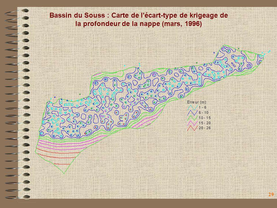 Bassin du Souss : Carte de l écart-type de krigeage de la profondeur de la nappe (mars, 1996)